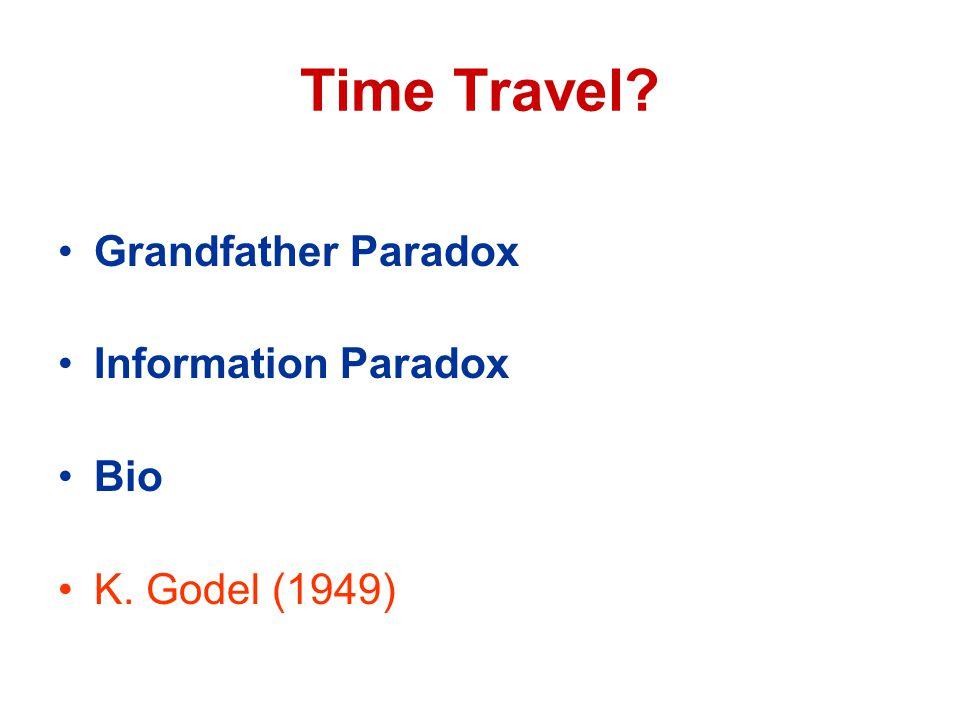 Time Travel Grandfather Paradox Information Paradox Bio K. Godel (1949)