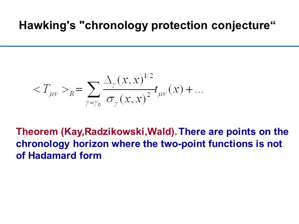 Hawking s chronology protection conjecture Theorem (Kay,Radzikowski,Wald).