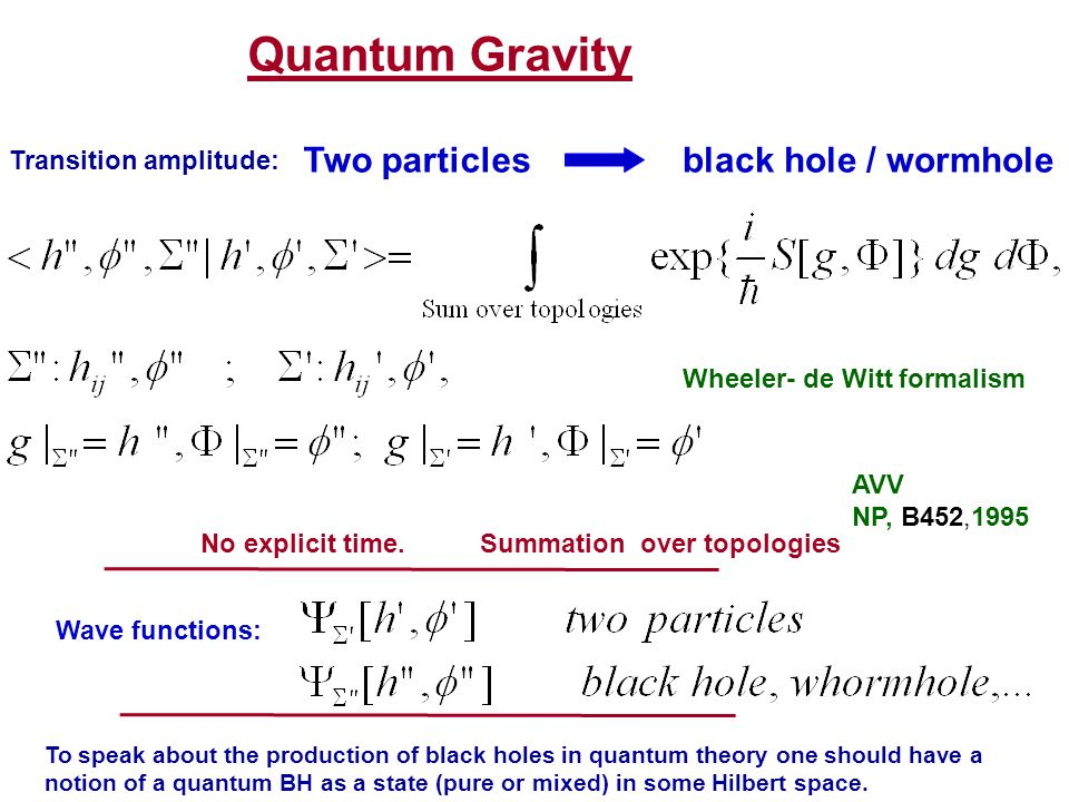 Quantum Gravity Two particlesblack hole / wormhole Wheeler- de Witt formalism AVV NP, B452,1995 Wave functions: No explicit time. Summation over topol