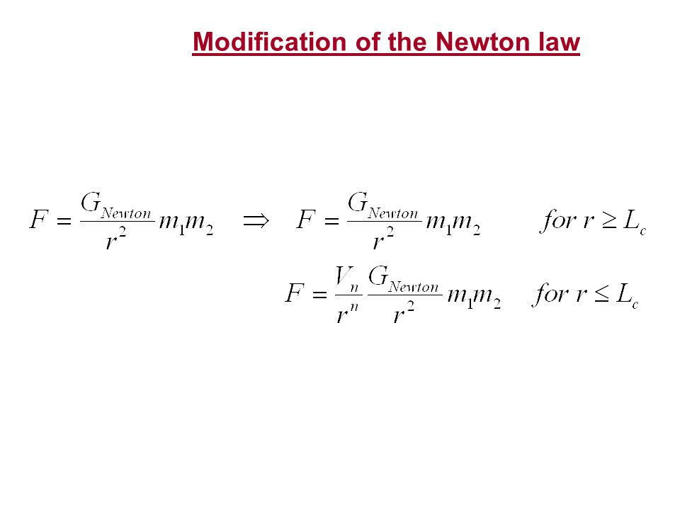 Modification of the Newton law