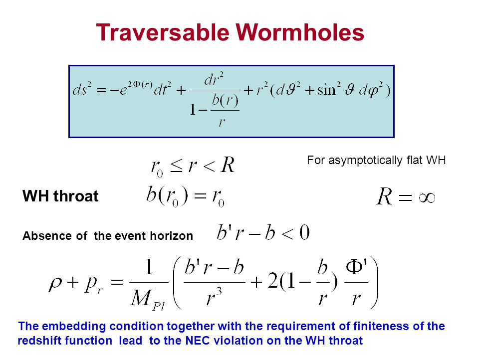 Traversable Wormholes WH throat Absence of the event horizon For asymptotically flat WH The embedding condition together with the requirement of finiteness of the redshift function lead to the NEC violation on the WH throat