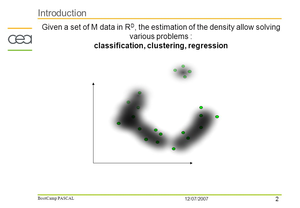 2 12/07/2007 BootCamp PASCAL Introduction Given a set of M data in R D, the estimation of the density allow solving various problems : classification, clustering, regression