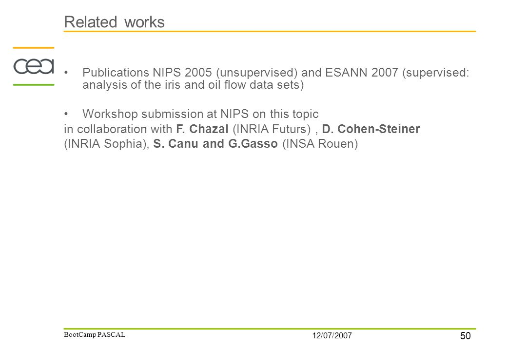 50 12/07/2007 BootCamp PASCAL Related works Publications NIPS 2005 (unsupervised) and ESANN 2007 (supervised: analysis of the iris and oil flow data sets) Workshop submission at NIPS on this topic in collaboration with F.