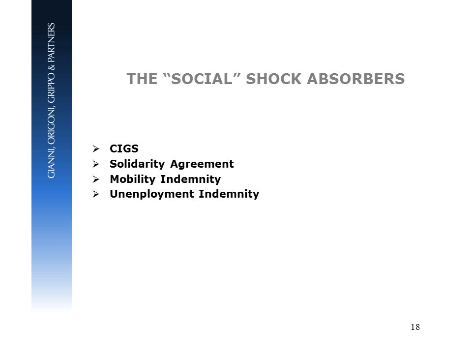 18 THE SOCIAL SHOCK ABSORBERS  CIGS  Solidarity Agreement  Mobility Indemnity  Unenployment Indemnity