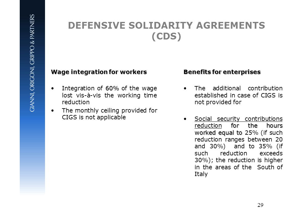 29 DEFENSIVE SOLIDARITY AGREEMENTS (CDS) Wage integration for workers 60%Integration of 60% of the wage lost vis-à-vis the working time reduction The monthly ceiling provided for CIGS is not applicable Benefits for enterprises The additional contribution established in case of CIGS is not provided for for the hours worked equal toSocial security contributions reduction for the hours worked equal to 25% (if such reduction ranges between 20 and 30%) and to 35% (if such reduction exceeds 30%); the reduction is higher in the areas of the South of Italy