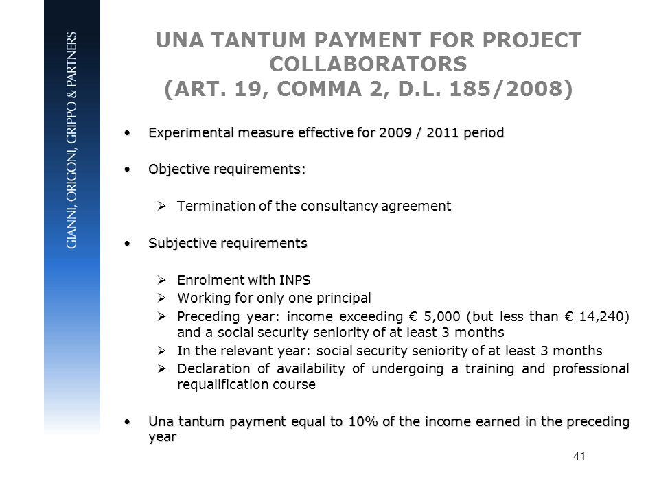 41 UNA TANTUM PAYMENT FOR PROJECT COLLABORATORS (ART.