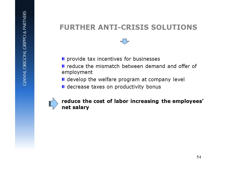 54 FURTHER ANTI-CRISIS SOLUTIONS provide tax incentives for businesses reduce the mismatch between demand and offer of employment develop the welfare program at company level decrease taxes on productivity bonus reduce the cost of labor increasing the employees' net salary