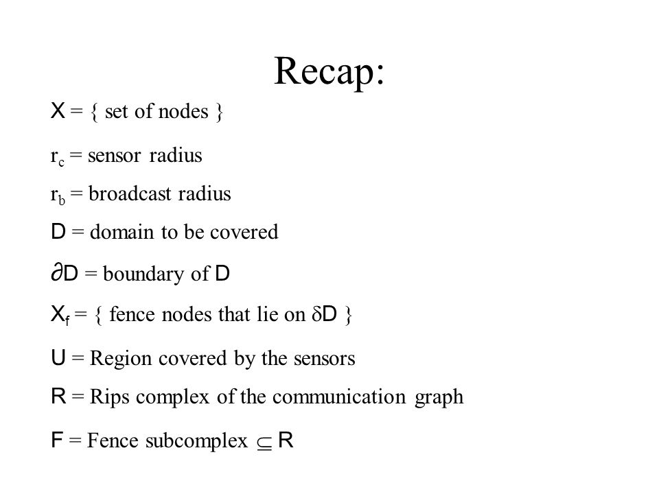 Recap: X  = { set of nodes } r c = sensor radius r b = broadcast radius D = domain to be covered ∂ D = boundary of D X f  = { fence nodes that lie on  D } R  = Rips complex of the communication graph U  = Region covered by the sensors F  = Fence subcomplex  R