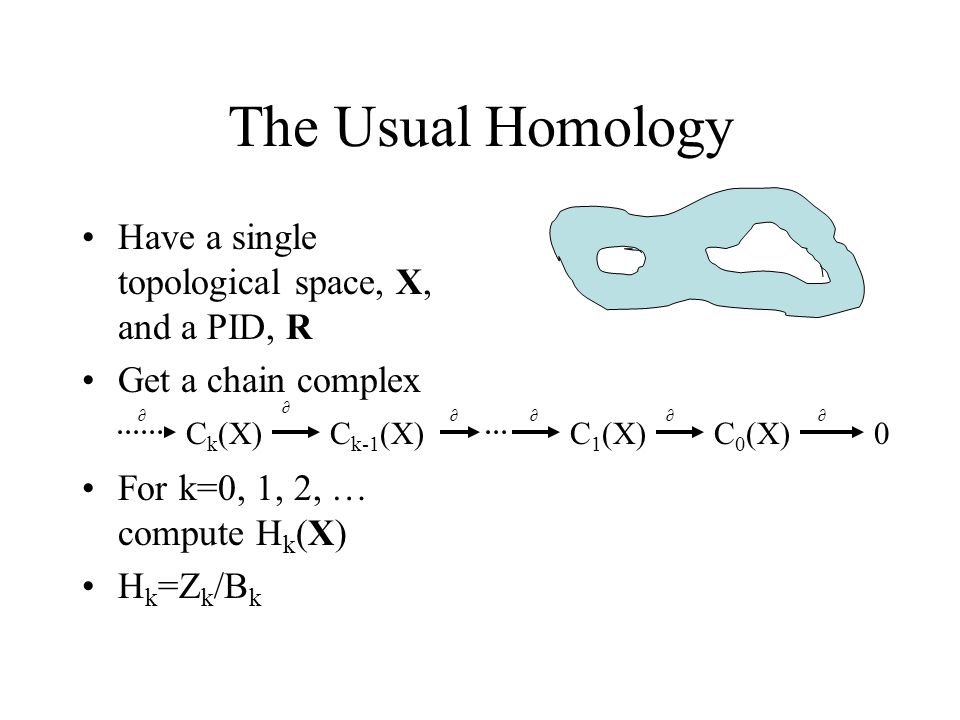 The Usual Homology Have a single topological space, X, and a PID, R Get a chain complex For k=0, 1, 2, … compute H k (X) H k =Z k /B k C k (X)C 1 (X)C 0 (X)C k-1 (X)0 ∂ ∂∂∂∂∂