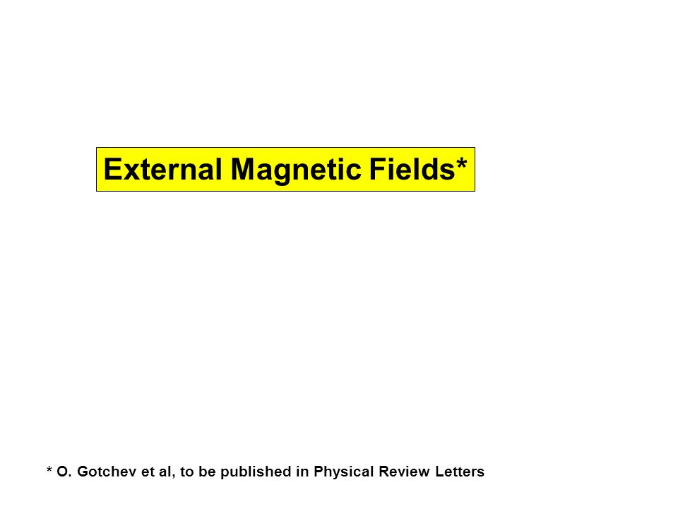 External Magnetic Fields* * O. Gotchev et al, to be published in Physical Review Letters