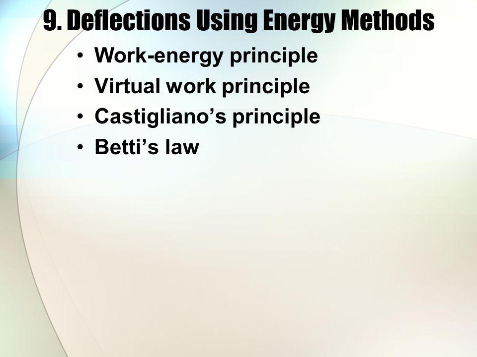 9. Deflections Using Energy Methods Work-energy principle Virtual work principle Castigliano's principle Betti's law