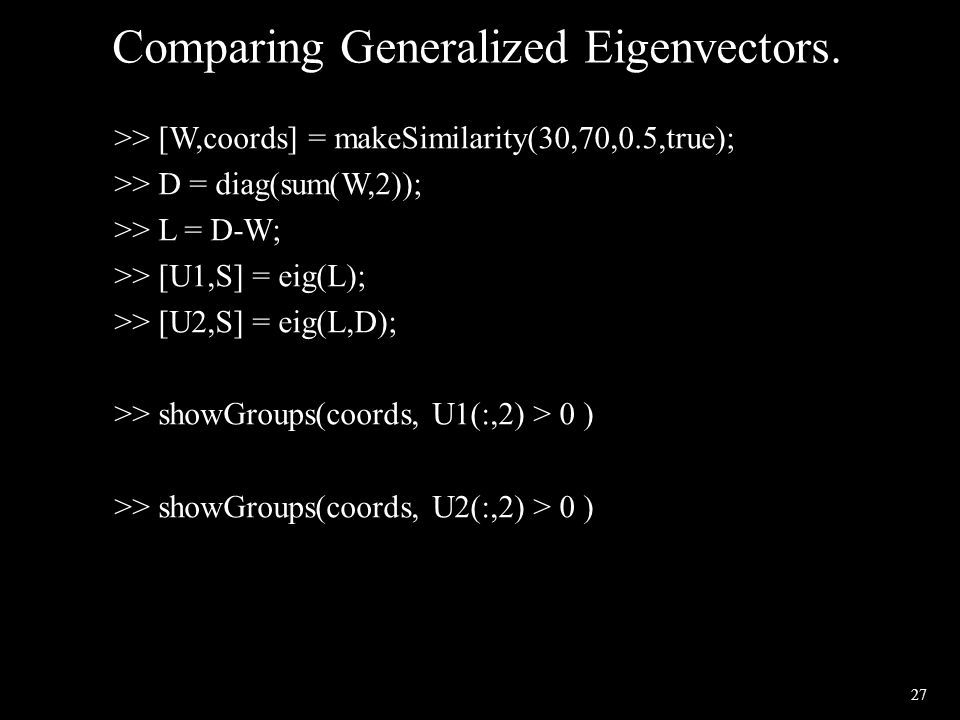 27 Comparing Generalized Eigenvectors. >> [W,coords] = makeSimilarity(30,70,0.5,true); >> D = diag(sum(W,2)); >> L = D-W; >> [U1,S] = eig(L); >> [U2,S