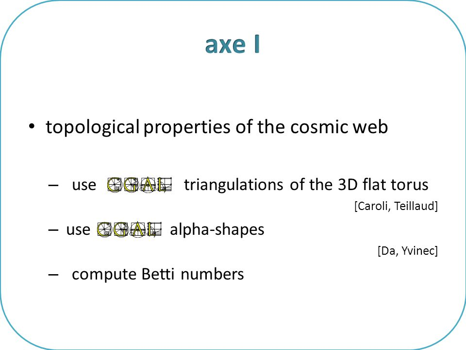 topological properties of the cosmic web – use triangulations of the 3D flat torus [Caroli, Teillaud] – use alpha-shapes [Da, Yvinec] – compute Betti numbers