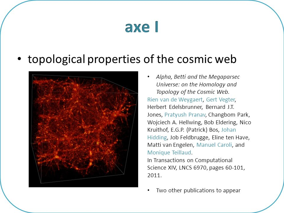 topological properties of the cosmic web Alpha, Betti and the Megaparsec Universe: on the Homology and Topology of the Cosmic Web. Rien van de Weygaer