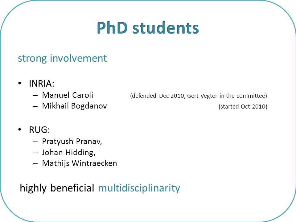 strong involvement INRIA: – Manuel Caroli (defended Dec 2010, Gert Vegter in the committee) – Mikhail Bogdanov (started Oct 2010) RUG: – Pratyush Pran