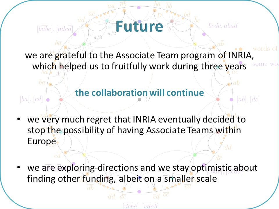 we are grateful to the Associate Team program of INRIA, which helped us to fruitfully work during three years the collaboration will continue we very much regret that INRIA eventually decided to stop the possibility of having Associate Teams within Europe we are exploring directions and we stay optimistic about finding other funding, albeit on a smaller scale
