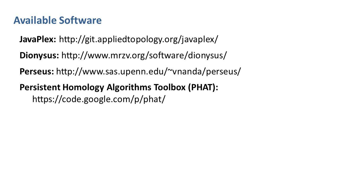 Available Software JavaPlex: http://git.appliedtopology.org/javaplex/ Dionysus: http://www.mrzv.org/software/dionysus/ Perseus: http://www.sas.upenn.edu/~vnanda/perseus/ Persistent Homology Algorithms Toolbox (PHAT): https://code.google.com/p/phat/