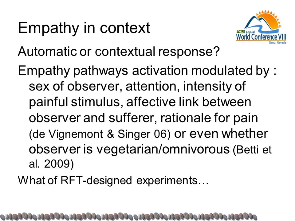 Empathy in context Automatic or contextual response.