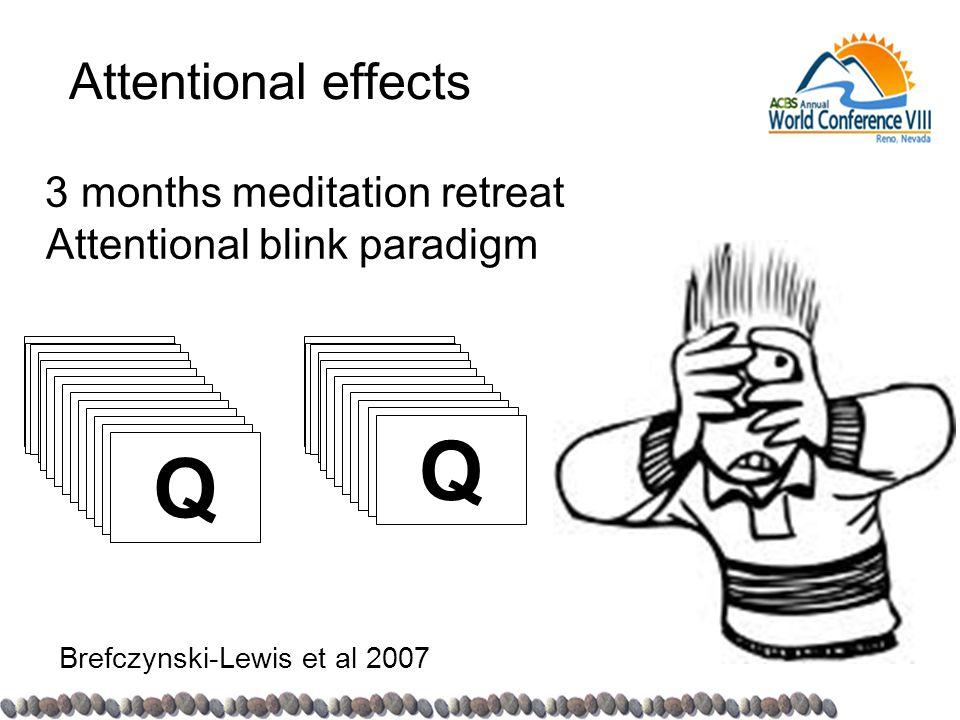 Attentional effects 3 months meditation retreat Attentional blink paradigm Brefczynski-Lewis et al 2007 E G G Z Z A N 3 Q P G 2 W Q E G G Z Z A N 3 Q P W Q
