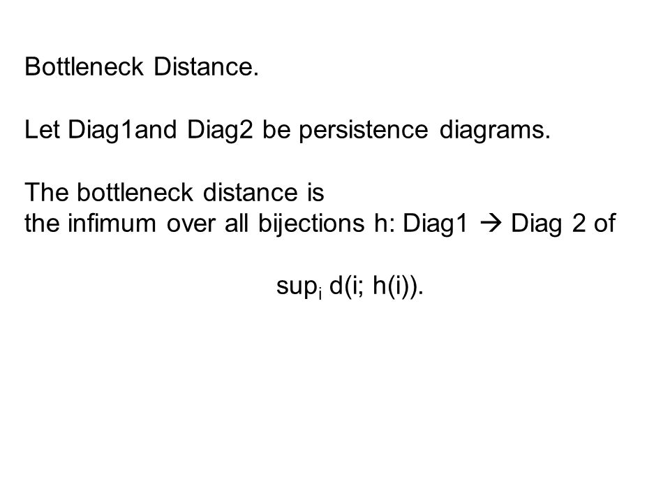 Bottleneck Distance. Let Diag1and Diag2 be persistence diagrams.