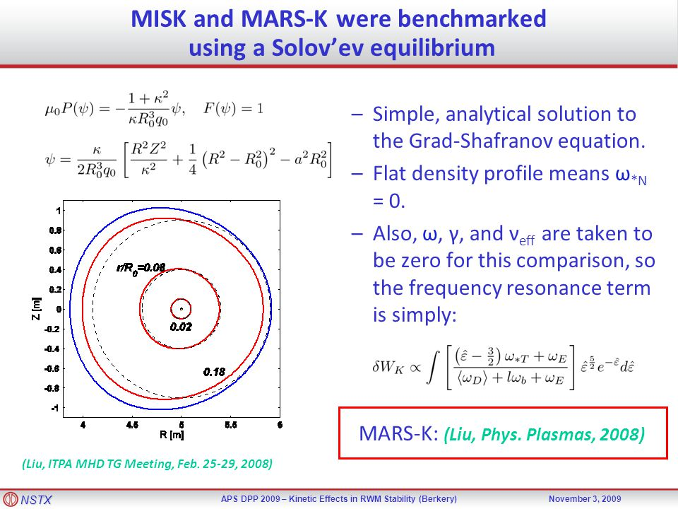 NSTX APS DPP 2009 – Kinetic Effects in RWM Stability (Berkery)November 3, 2009 MISK and MARS-K were benchmarked using a Solov'ev equilibrium (Liu, ITPA MHD TG Meeting, Feb.