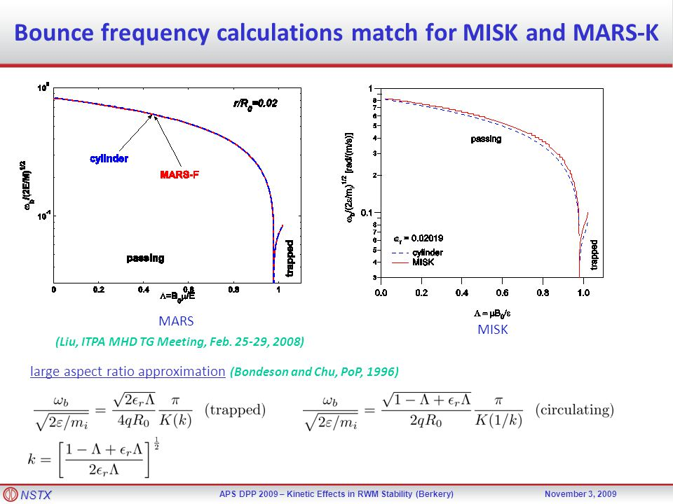 NSTX APS DPP 2009 – Kinetic Effects in RWM Stability (Berkery)November 3, 2009 Bounce frequency calculations match for MISK and MARS-K large aspect ra