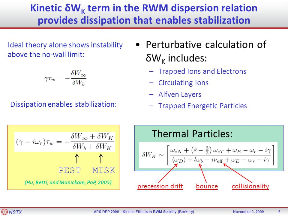 NSTX APS DPP 2009 – Kinetic Effects in RWM Stability (Berkery)November 3, 2009 Kinetic δW K term in the RWM dispersion relation provides dissipation that enables stabilization Dissipation enables stabilization: 6 Ideal theory alone shows instability above the no-wall limit: Perturbative calculation of δW K includes: –Trapped Ions and Electrons –Circulating Ions –Alfven Layers –Trapped Energetic Particles (Hu, Betti, and Manickam, PoP, 2005) PEST MISK Thermal Particles: precession driftbouncecollisionality