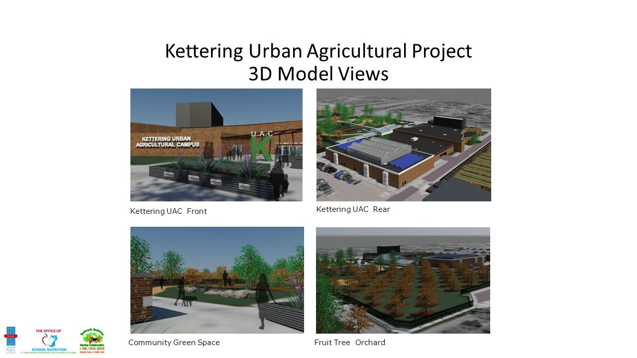 Kettering UAC Front Kettering UAC Rear Community Green SpaceFruit Tree Orchard Kettering Urban Agricultural Project 3D Model Views