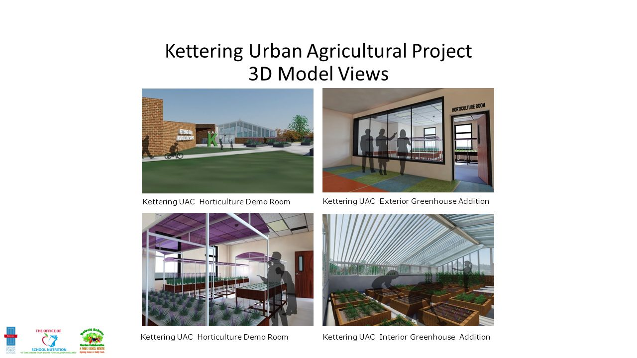 Kettering UAC Horticulture Demo Room Kettering UAC Exterior Greenhouse Addition Kettering UAC Horticulture Demo Room Kettering UAC Interior Greenhouse Addition Kettering Urban Agricultural Project 3D Model Views