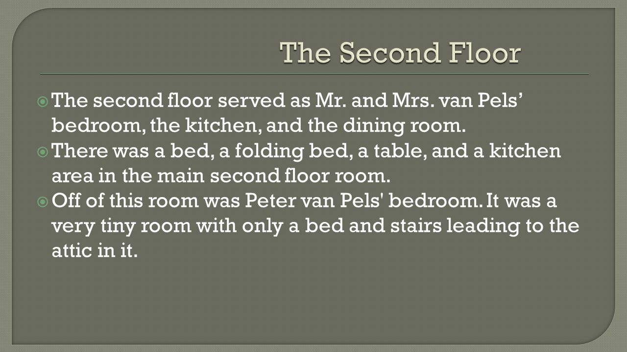  The second floor served as Mr. and Mrs. van Pels' bedroom, the kitchen, and the dining room.