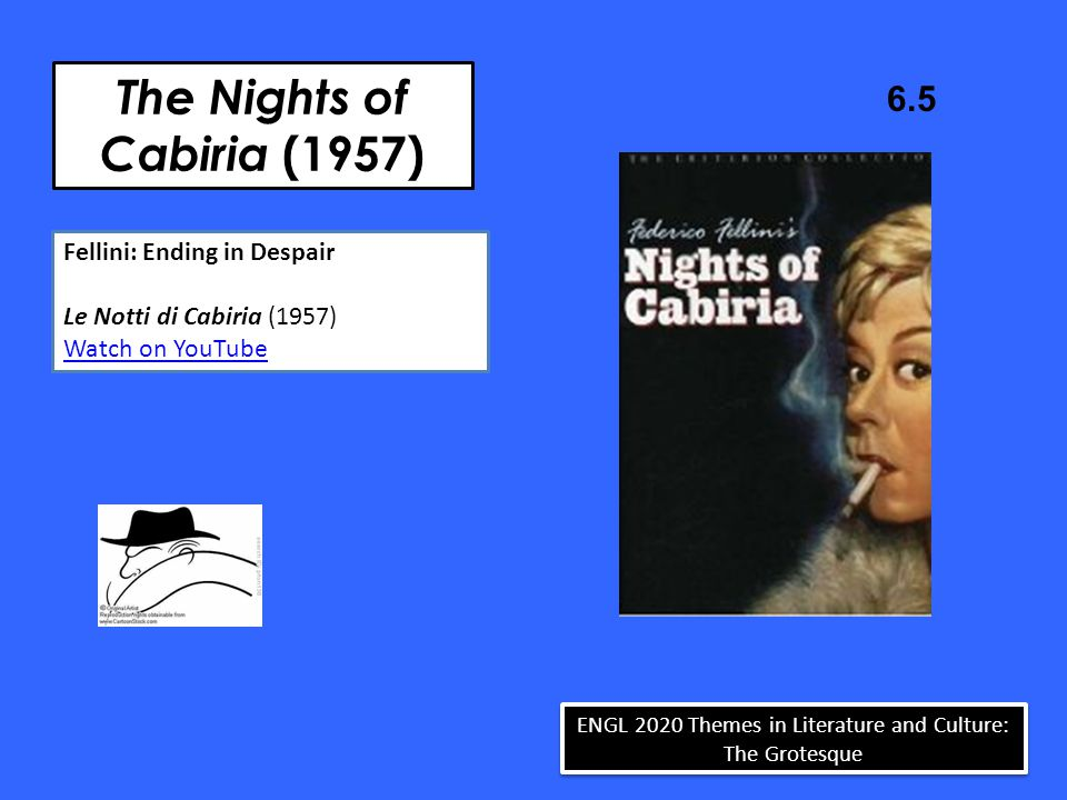 The Nights of Cabiria (1957) 6.5 ENGL 2020 Themes in Literature and Culture: The Grotesque Fellini: Ending in Despair Le Notti di Cabiria (1957) Watch
