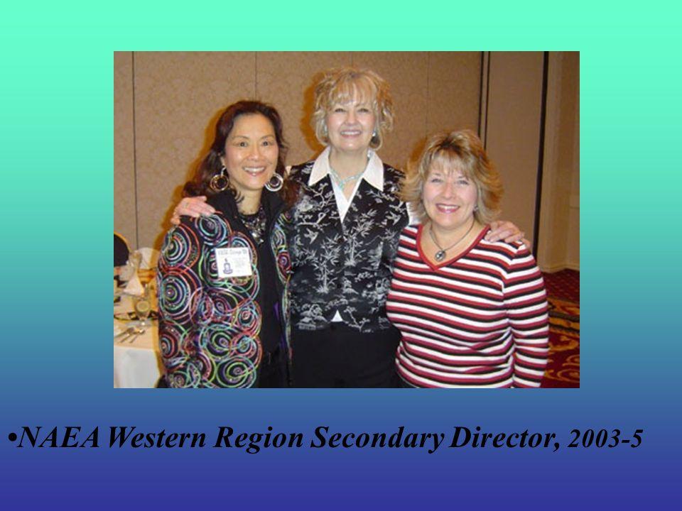 KAEA President, 1998-2000 Kansas Secondary Art Educator, 1999 NAEA Delegates Assembly, 2000-03