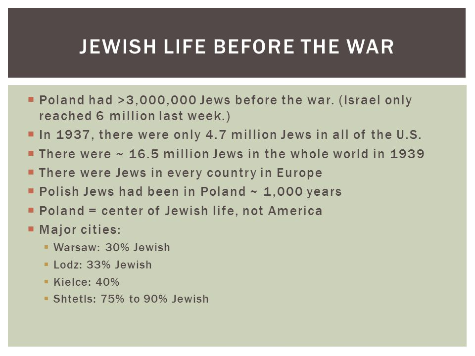  Poland had >3,000,000 Jews before the war.