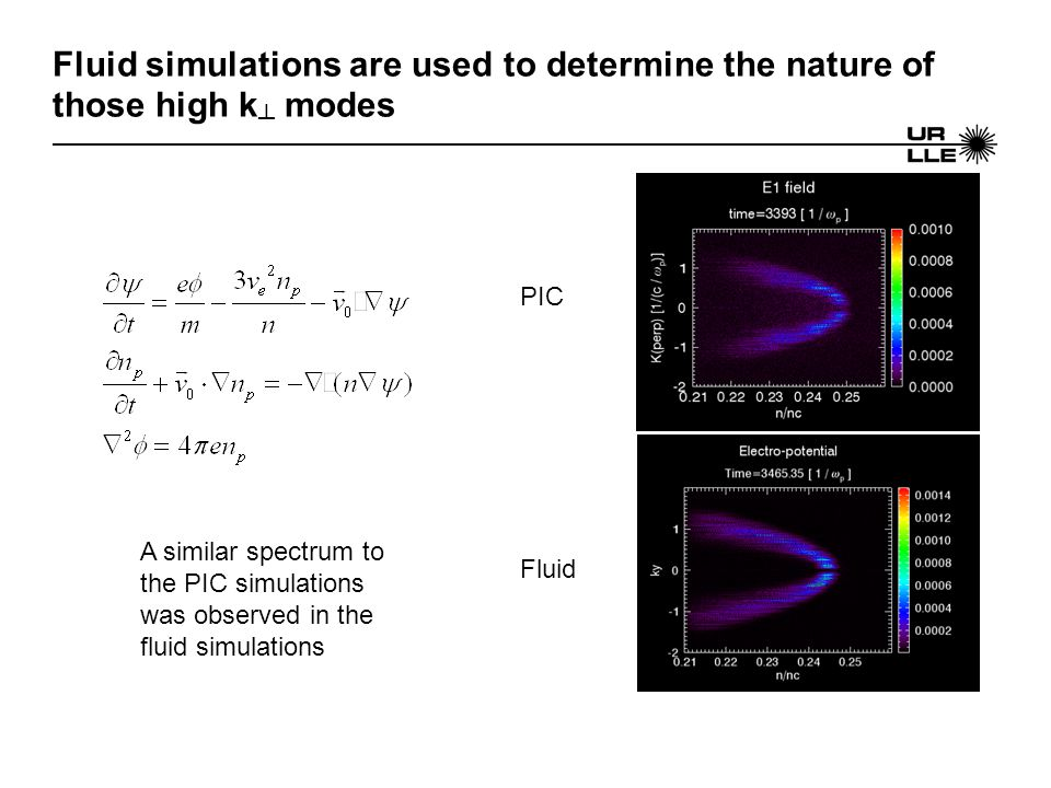 Fluid simulations are used to determine the nature of those high k ┴ modes A similar spectrum to the PIC simulations was observed in the fluid simulat