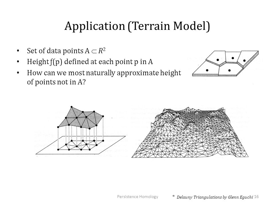 Application (Terrain Model) Set of data points A  R 2 Height ƒ(p) defined at each point p in A How can we most naturally approximate height of points