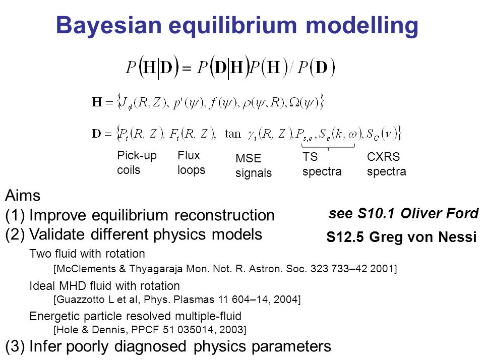 Bayesian equilibrium modelling Aims (1)Improve equilibrium reconstruction (2)Validate different physics models Two fluid with rotation [McClements & Thyagaraja Mon.
