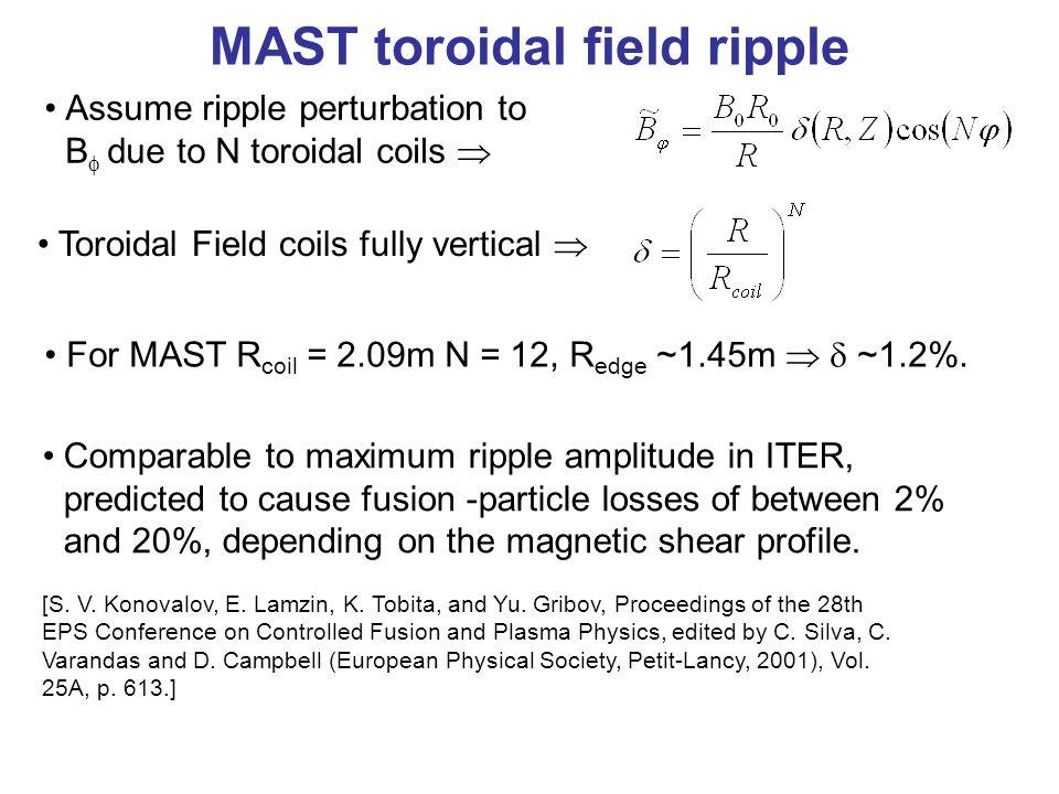 For MAST R coil = 2.09m N = 12, R edge ~1.45m   ~1.2%.