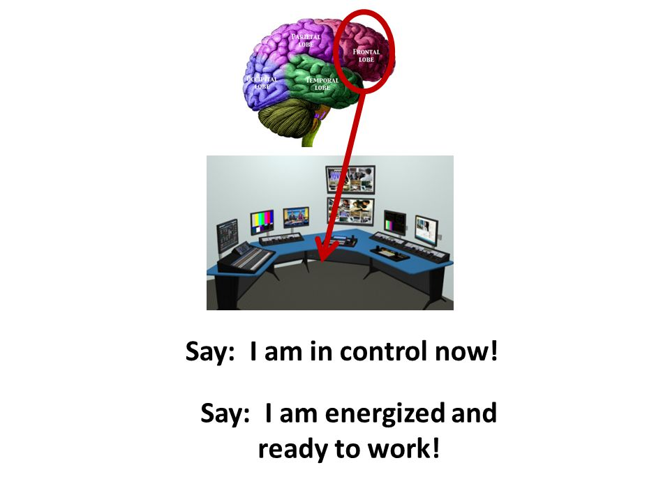 Say: I am energized and ready to work! Say: I am in control now!