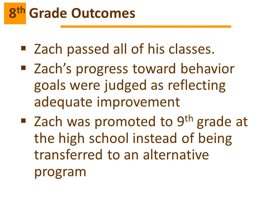  Zach passed all of his classes.