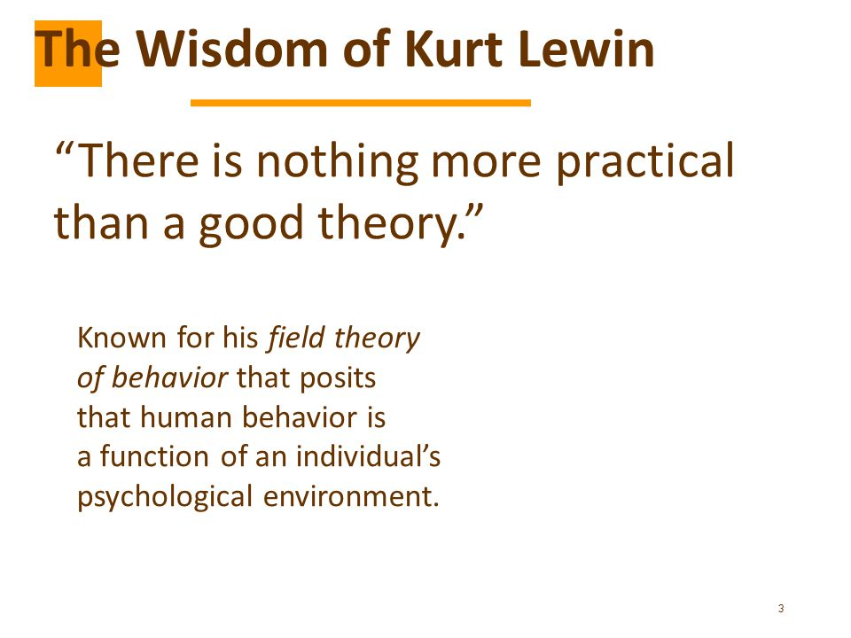3 There is nothing more practical than a good theory. The Wisdom of Kurt Lewin Known for his field theory of behavior that posits that human behavior is a function of an individual's psychological environment.