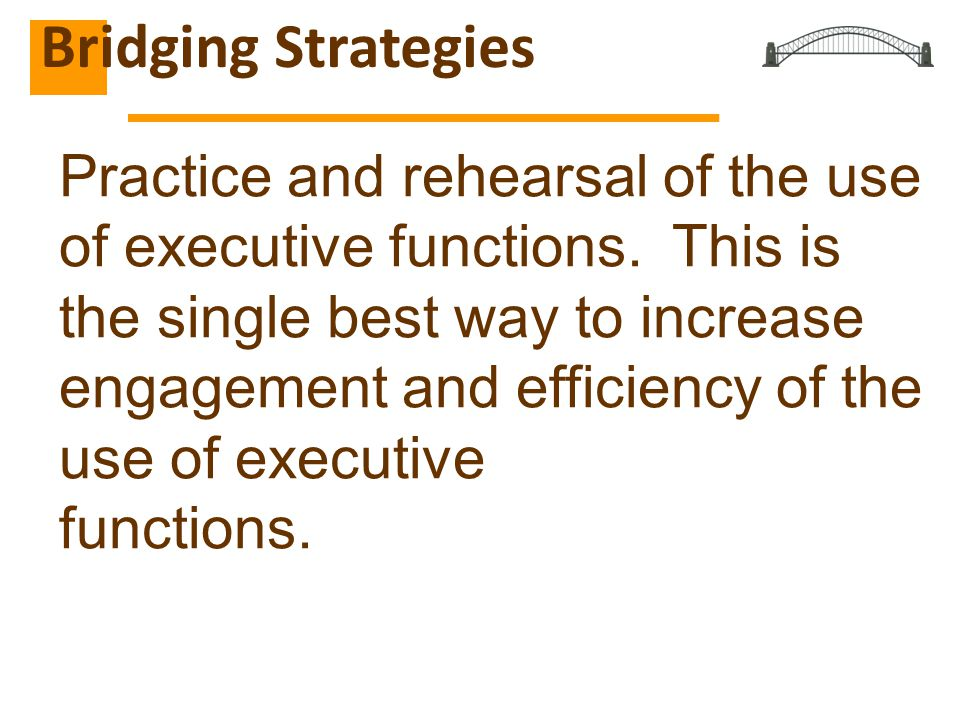 Practice and rehearsal of the use of executive functions.