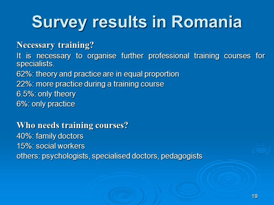 19 Survey results in Romania Necessary training.