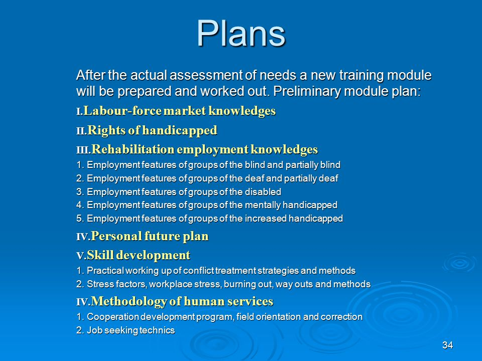 34 Plans After the actual assessment of needs a new training module will be prepared and worked out.