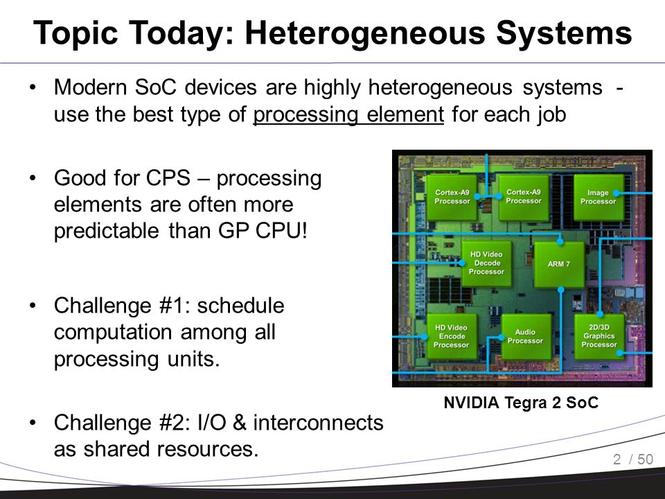 / 50 Topic Today: Heterogeneous Systems Modern SoC devices are highly heterogeneous systems - use the best type of processing element for each job Goo
