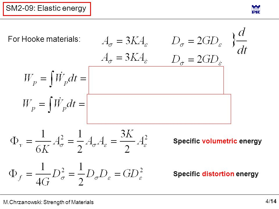 4/144/14 M.Chrzanowski: Strength of Materials SM2-09: Elastic energy For Hooke materials: Specific volumetric energy Specific distortion energy
