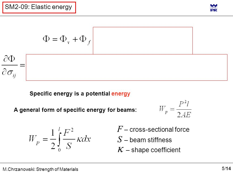5/145/14 M.Chrzanowski: Strength of Materials SM2-09: Elastic energy Specific energy is a potential energy A general form of specific energy for beams: F – cross-sectional force S – beam stiffness κ – shape coefficient
