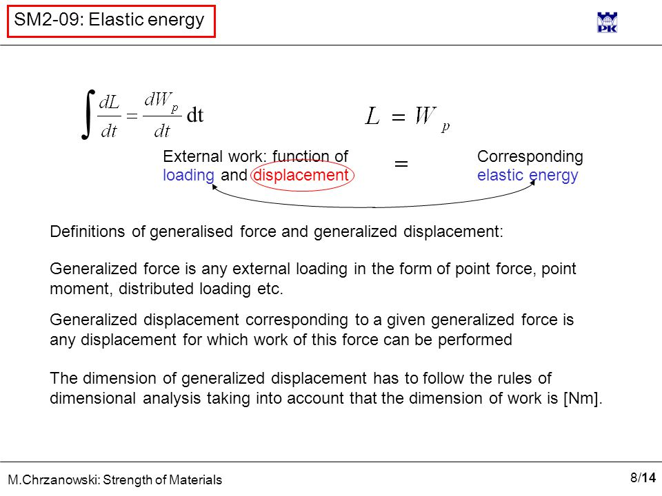 8/148/14 M.Chrzanowski: Strength of Materials SM2-09: Elastic energy Definitions of generalised force and generalized displacement: Generalized force is any external loading in the form of point force, point moment, distributed loading etc.