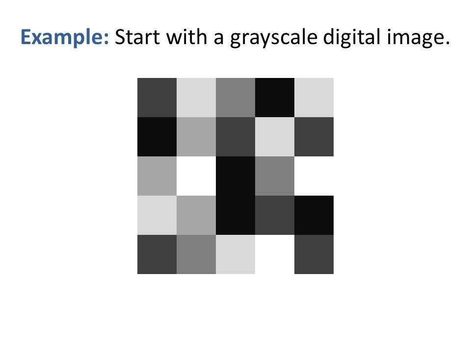 Example: Start with a grayscale digital image.