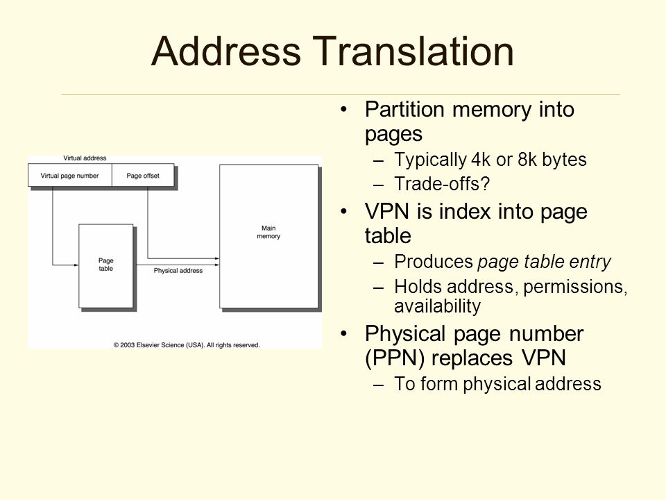 Address Translation Partition memory into pages –Typically 4k or 8k bytes –Trade-offs.