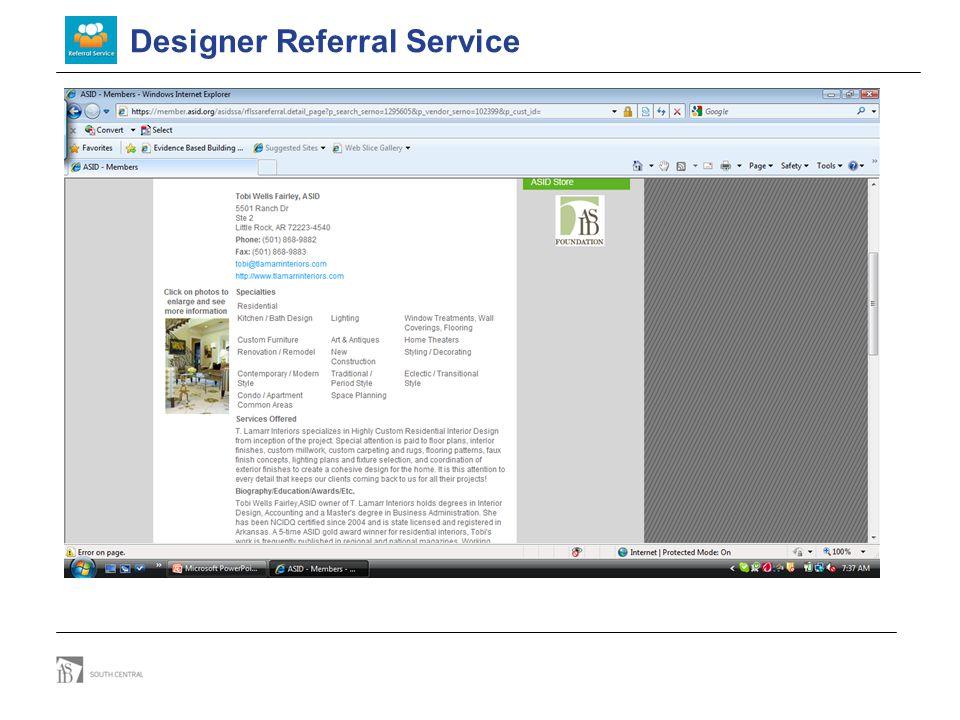 Designer Referral Service